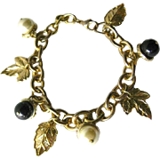 Acorn and Leaves Charm Bracelet - Vintage Costume Jewellery - Faux Pearl Bracelet