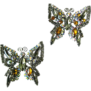 Vintage Rhinestone Butterfly Pins - Costume Jewellery - Rhinestone Brooch - Butterfly Brooch