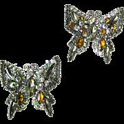 Vintage Rhinestone Butterfly Pins - Costume Jewellery - Rhinestone Brooch - Butterfly Brooch