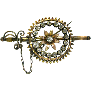Sword and Scabbard Pin With Rhinestones - Vintage Brooch - Sword Pin - Knights Brooch - Renaissance Fair Pin