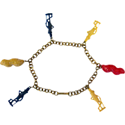 Planters Peanut Charm Bracelet - Novelty Bracelet - 1950s Charm Bracelet - Mr Peanut - Vintage Mr Peanut
