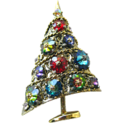 Weiss Sugarplum Christmas Tree Pin - Margarita Rivoli Glass Rhinestone Brooch - Vintage Jewellery - Holiday Pin - Christmas Brooch