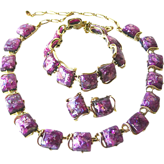Signed Coro Thermoset Parure - Glitter Purple Thermoset Jewelry Set - Vintage Necklace Set - Costume Jewellery