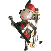 Trembler Pin Scottish Man Playing Cello  - Vintage Trembler Brooch - Costume Jewelry