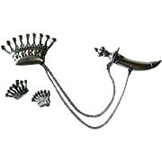 Crown and Sword Sterling Pin and Earring Set - Sterling Silver Jewelry Set