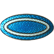 Sterling Silver Guilloche Pin - Blue Enamel Pin - Scatter Pin
