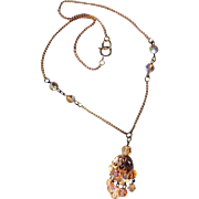 Vintage Chandelier Necklace - Topaze Crystal Necklace