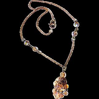 Vintage Chandelier Necklace - Topaze Crystal Necklace