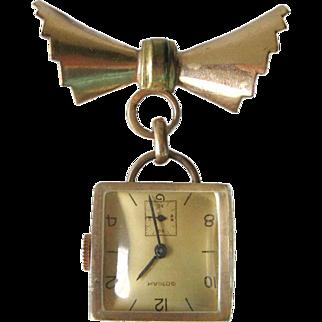 Gotham Watch Pin - Mechanical Watch - Vintage Nurses Watch Brooch