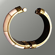 Chunky Cuff Hinged Bracelet With Brass Design Accents