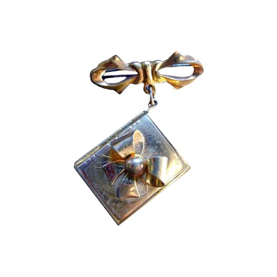 Locket Bow Brooch - Picture Pin - Vintage Locket