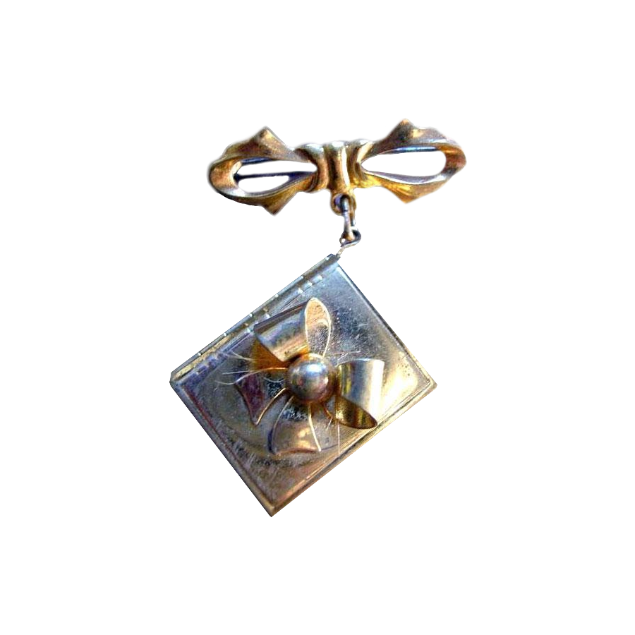 Gold-Toned Locket Bow Brooch
