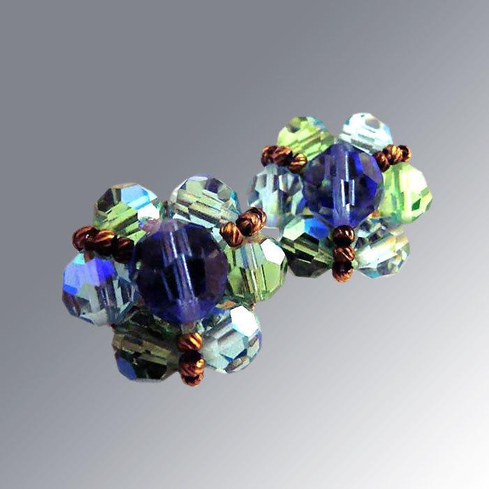 Green & Blue Glass Bead Earrings