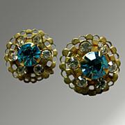 Earrings -- Signed Charm -- Beautiful Turquoise and White Rhinestone