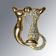 Two Courting Cats Signed Brooch