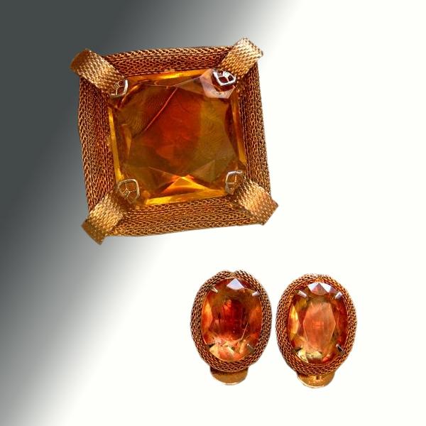 Amber Colored Mesh Demi Parure Pin & Earrings
