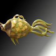 Extraordinary Extra Large Enameled Fish Necklace