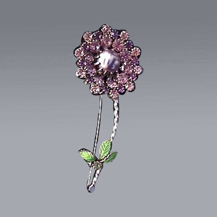 Amethyst Rhinestone and Pearl Flower Pin - Baroque Pearl Brooch - Flower Brooch - Costume Jewellery