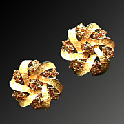 Amber Rhinestone and Gold Vintage Earrings
