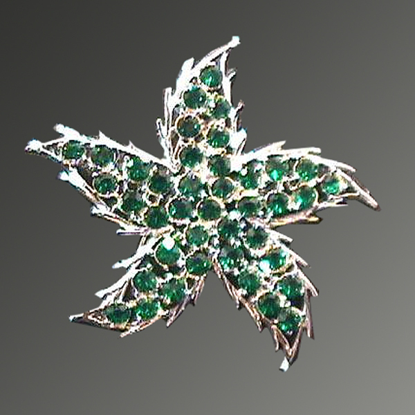 Vintage Green and Silver Toned Rhinestone Starfish Pin