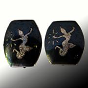 Vintage Niello Siam Sterling Earrings
