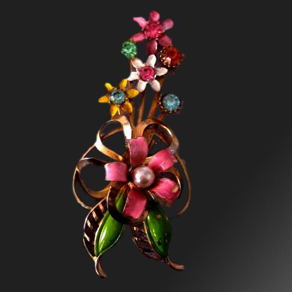 Trembler Brooch Floral Spray