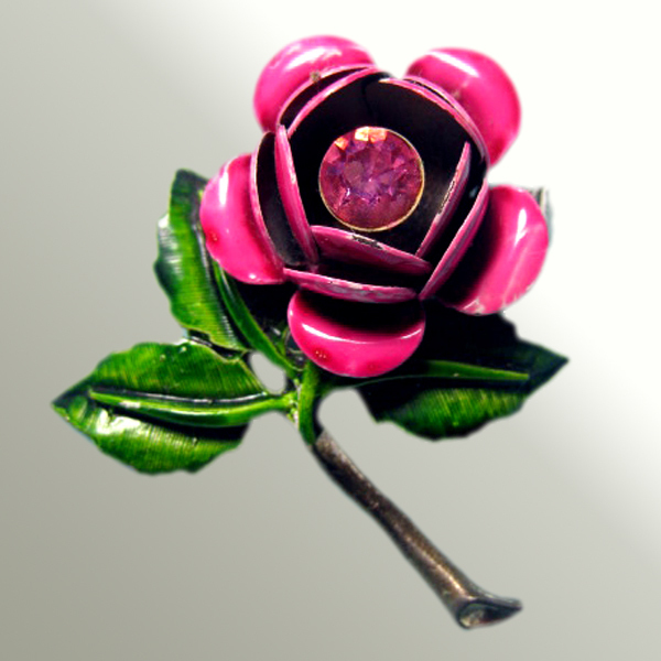 Vintage Enamel Rhinestone Floral Pin   A Rose By Any Other Name...