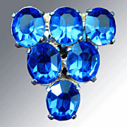 Large Blue Rhinestone Dress Clip