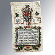 1966 Vintage Calendar Tea Towel Kitchen Prayer Kitchen Accessory