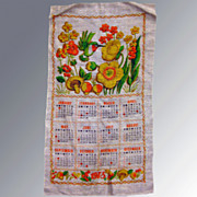 Vintage Calendar Tea Towel 1973 Kitchen Accessory
