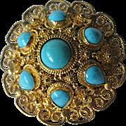 Silver Vermeil Filigree Turquoise Vintage Pin