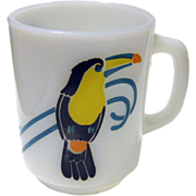 Very Rare Anchor Hocking Toucan Bird Coffee Mug / Vintage Kitchenware / Bird Cup / Milk Glass Mug / Fire King Mug