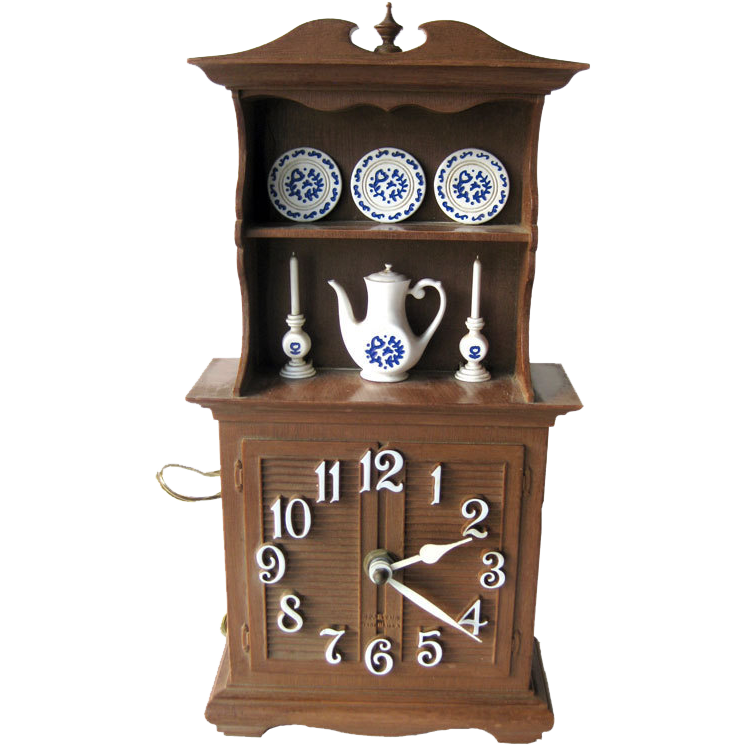 Fundecor Fashion Chinese Style Vintage Home Art Decor: Spartus Kitchen Duncan Phyfe Style Hutch Clock / Vintage