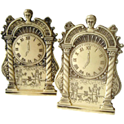 Mantel Clock Salt and Pepper Shakers With Greek Scene - Novelty Shaker Set - Housewarming Gift - Salt Shaker Set - Plastic Salt Shaker