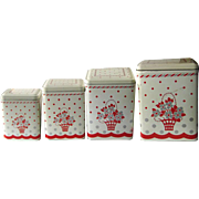 Vintage Metal Canister Set - Retro Kitchen Decor - Set Of 4 Storage Canisters
