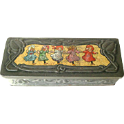 Art Nouveau Biscuit Tin Peek Frean and Co - Child Illustrated Tin - Art Nouveau Litho Box - Peek Frean England