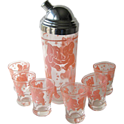 Pink Elephant Cocktail Shaker and Six Glasses - Vintage Barware - Happy Hour Bar Set