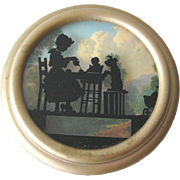 Reverse Painted Silhouette Tea Party With Dog and Doll in Metal Frame - Vintage Home Decor - Vintage Wall Hanging - Newton Manufacturing Co