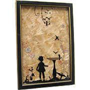 Milkweed Reverse Painted Silhouette Of Child and Birds in Wood Frame - Vintage Home Decor - Vintage Wall Hanging