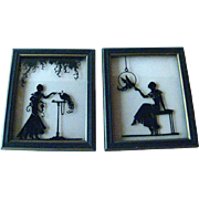 Pair of Art Deco Reverse Painted Silhouette Of Women and Birds in Wood Frames - Vintage Home Decor - Vintage Wall Hanging