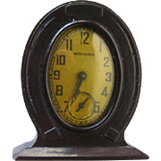 Bakelite Horseshoe Clock In Working Condition - New Haven Clock - Vintage Small Clock - Mechanical Clock
