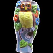 Owl Wall Pocket - Vintage Owl Vase - Hand Painted Owl