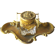 Art Nouveau Ink Well and Pen Stand - Vintage Office Decor - Antique Ink Well - Glass Inkwell