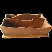 Miniature Utensil Tray - Vintage Wood Cutlery Holder - Vintage Doll Accessory