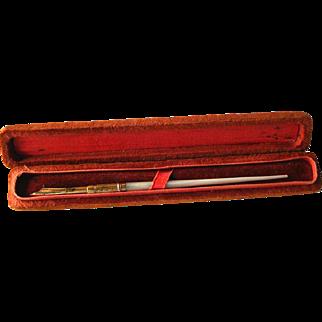 Mother Of Pearl Dip Pen With Weidlich Cincinnati Nib - 14 K Gold Nib Pen In Presentation Box