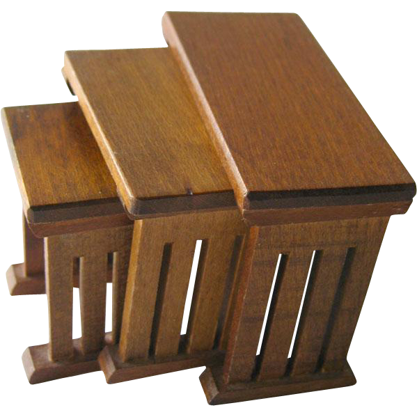 Mission Style Nesting Wooden Tables Vintage Doll Miniatures / Dollhouse Doll Furniture / Miniature Furniture