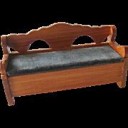 Lidded Bench With Velvet Seat Vintage Doll Miniature / Dollhouse Doll Furniture / Miniature Furniture