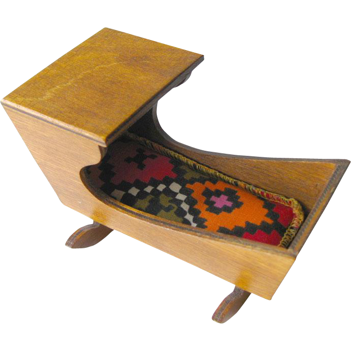 Vintage Miniature Early American Wooden Baby Cradle / Dollhouse Doll Furniture / Miniature Furniture / Doll House Cradle / Shaker Style Cradle / Sleigh Cradle