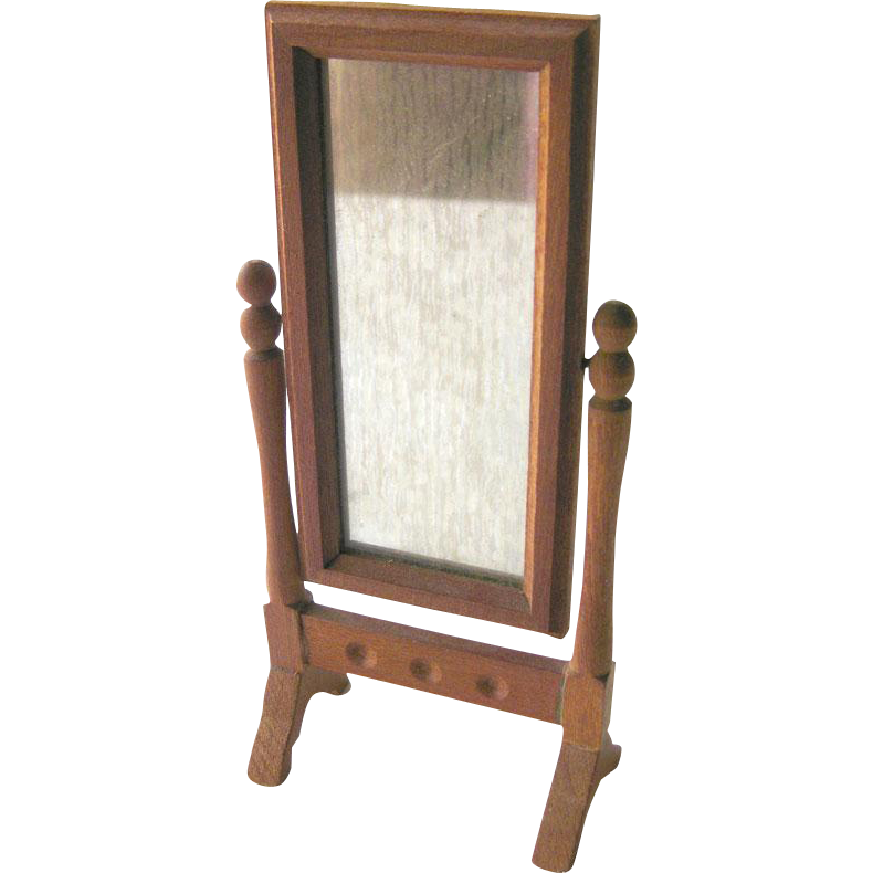 Cheval Mirror Vintage Miniature Doll House / Dollhouse Furniture / Miniature Furniture / Dollhouse Mirror / Miniature Mirror