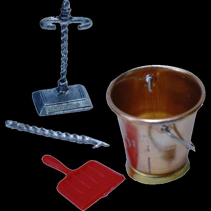 Miniature Dollhouse Fireplace Accessories / Pewter Poker Holder / Brass Bucket